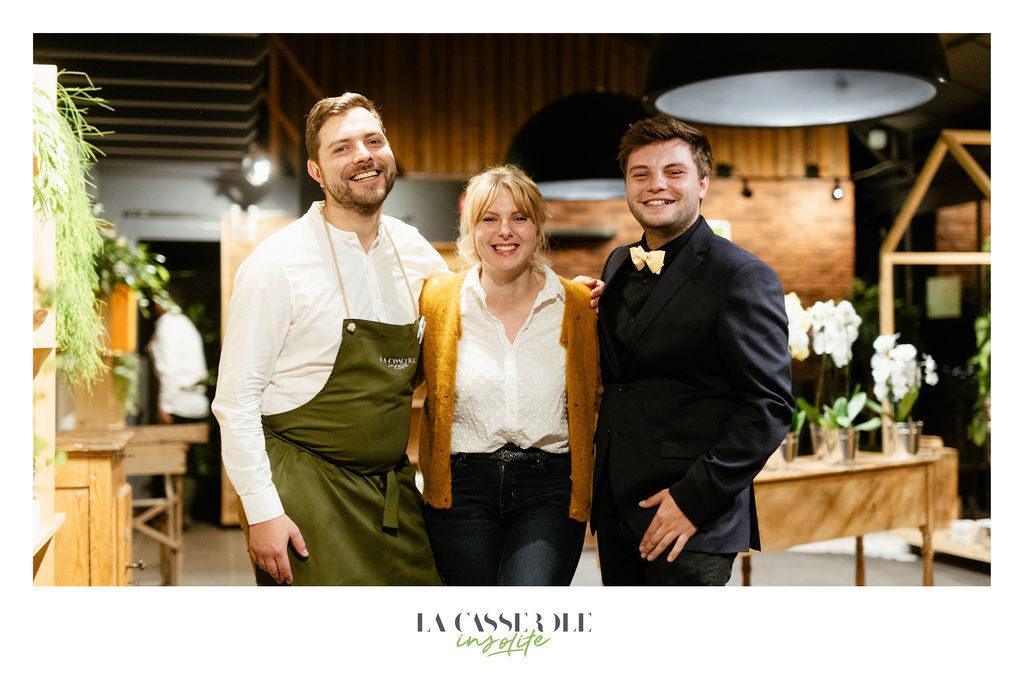 Cédric Kuster, Anne Lienhart et Jérémy Mendes, dans l'organisation des diners insolites du 19 et 20 septembre 2019
